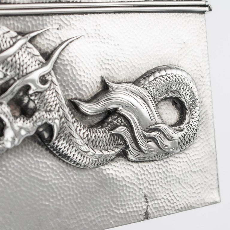 20thC Japanese Meiji Solid Silver Dragon Cigar Box c.1900 For Sale 12