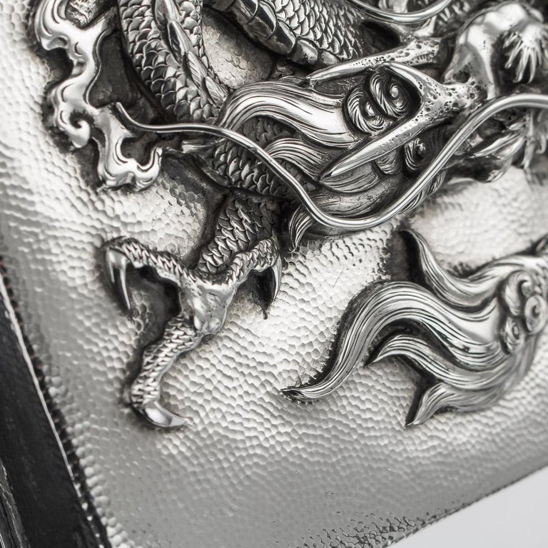 20thC Japanese Meiji Solid Silver Dragon Cigar Box c.1900 For Sale 14