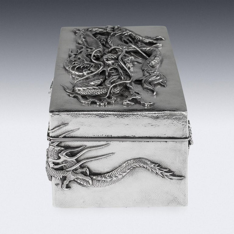 20th Century 20thC Japanese Meiji Solid Silver Dragon Cigar Box c.1900 For Sale