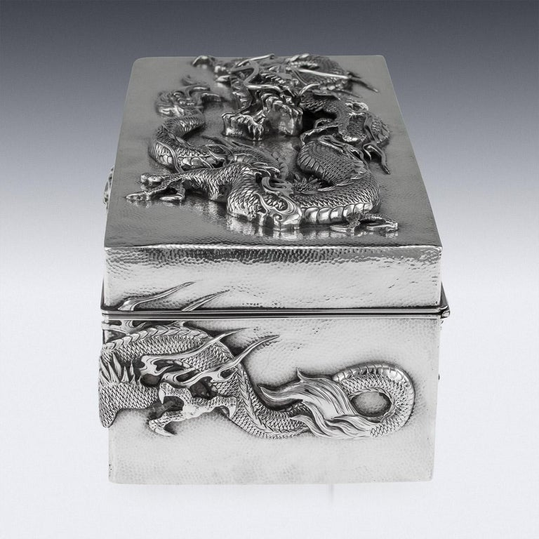 20thC Japanese Meiji Solid Silver Dragon Cigar Box c.1900 For Sale 1