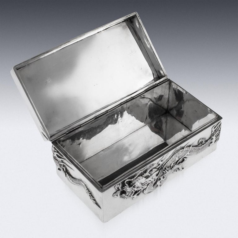 20thC Japanese Meiji Solid Silver Dragon Cigar Box c.1900 For Sale 2