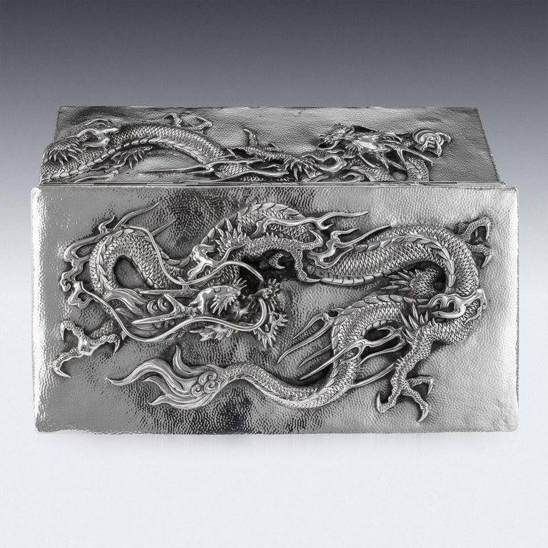 20thC Japanese Meiji Solid Silver Dragon Cigar Box c.1900 For Sale 3
