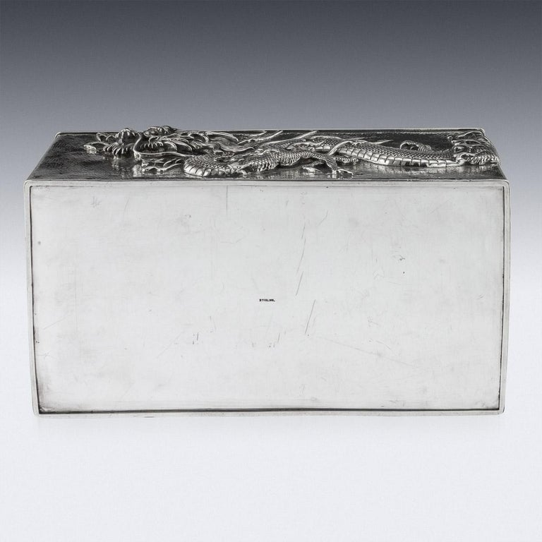 20thC Japanese Meiji Solid Silver Dragon Cigar Box c.1900 For Sale 4