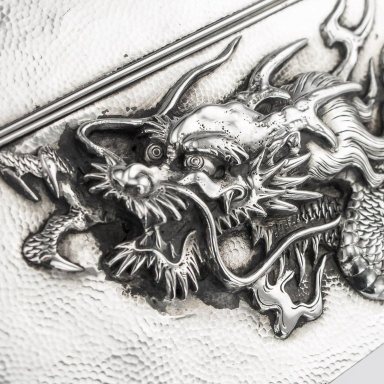 20thC Japanese Meiji Solid Silver Dragon Cigar Box c.1900 For Sale 5