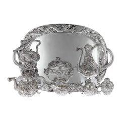 Japanese Solid Silver Massive 8 Piece Tea and Coffee Service, circa 1900