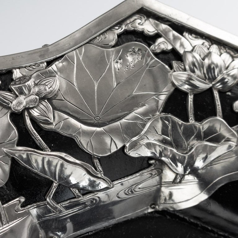 20thc Japanese Solid Silver on Wood Serving Tray, Arthur & Bond C.1900 For Sale 4