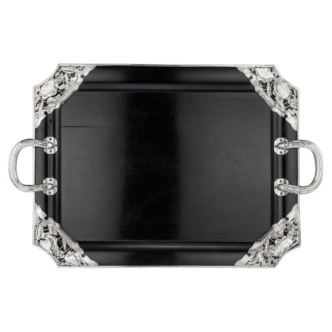 20thc Japanese Solid Silver on Wood Serving Tray, Arthur & Bond C.1900