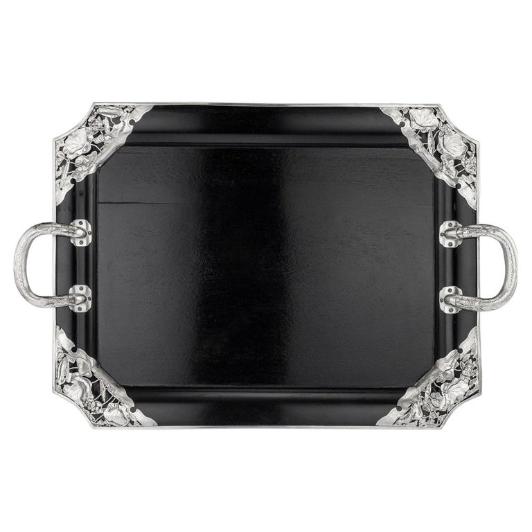 20thc Japanese Solid Silver on Wood Serving Tray, Arthur & Bond C.1900 For Sale