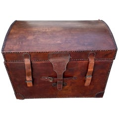 20th Century Leather Dome Top Trunk
