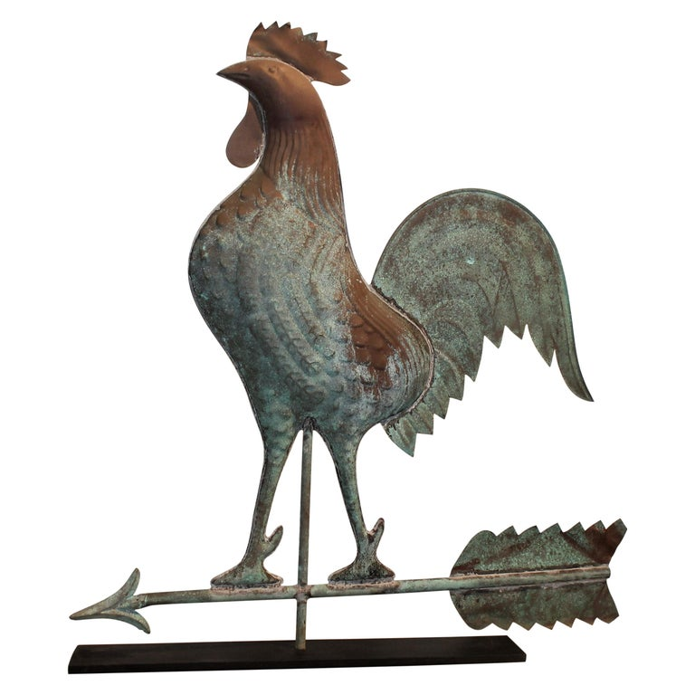 20th Century Mounted Roster Weather Vane on Iron Stand For Sale
