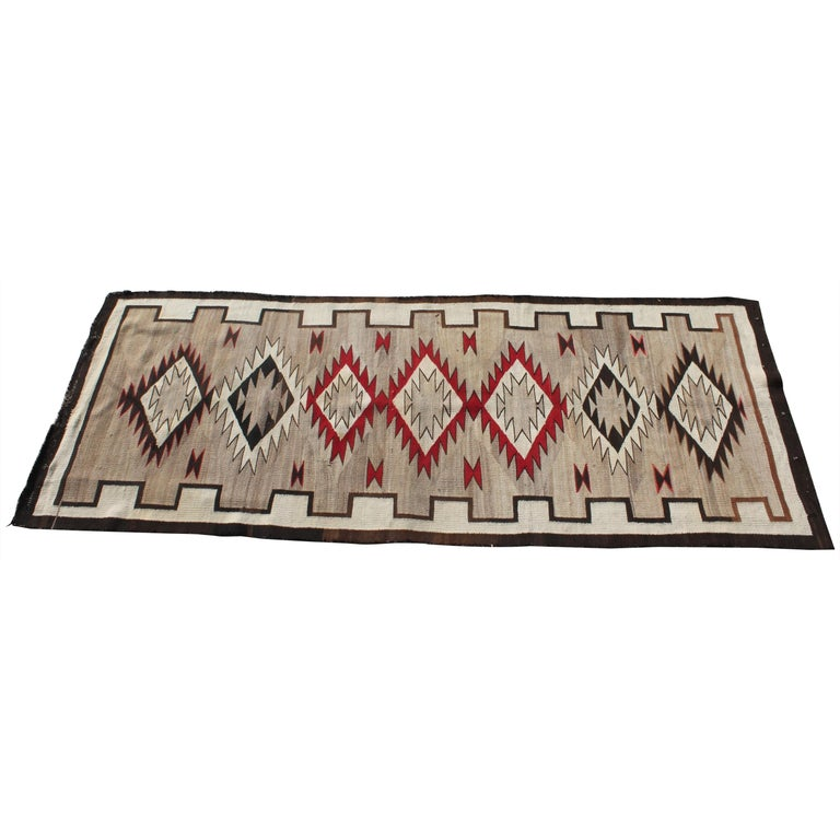 20th Century Navajo Indian Weaving Runner Rug For Sale