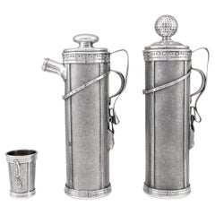 20Thc Novelty Silver Plated 'Golf Bag' Cocktail Shaker Set, C.1920