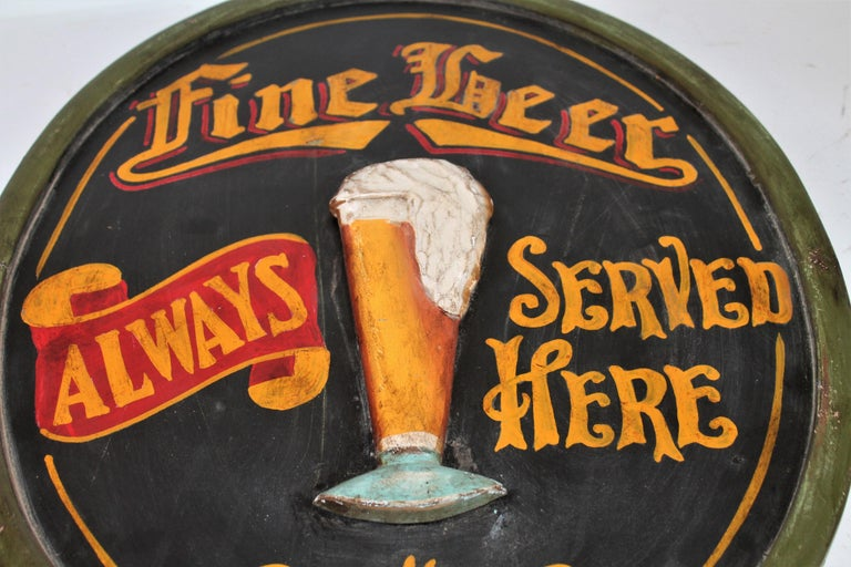Folk Art 20th Century Original Hand Painted Beer Sign For Sale
