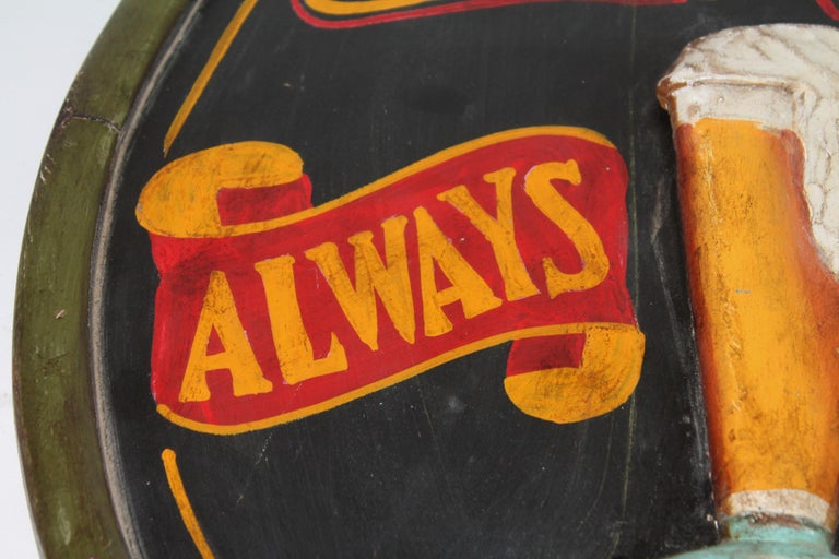 20th Century Original Hand Painted Beer Sign In Good Condition For Sale In Los Angeles, CA