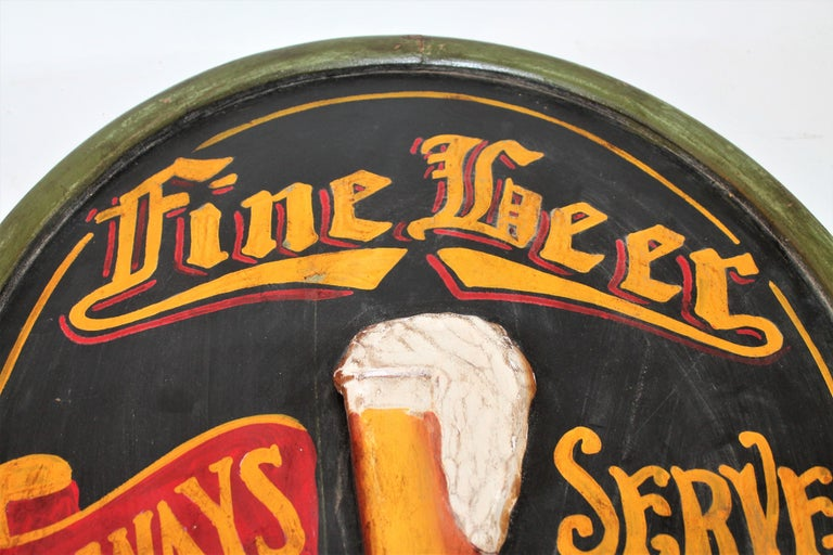20th Century Original Hand Painted Beer Sign For Sale 1