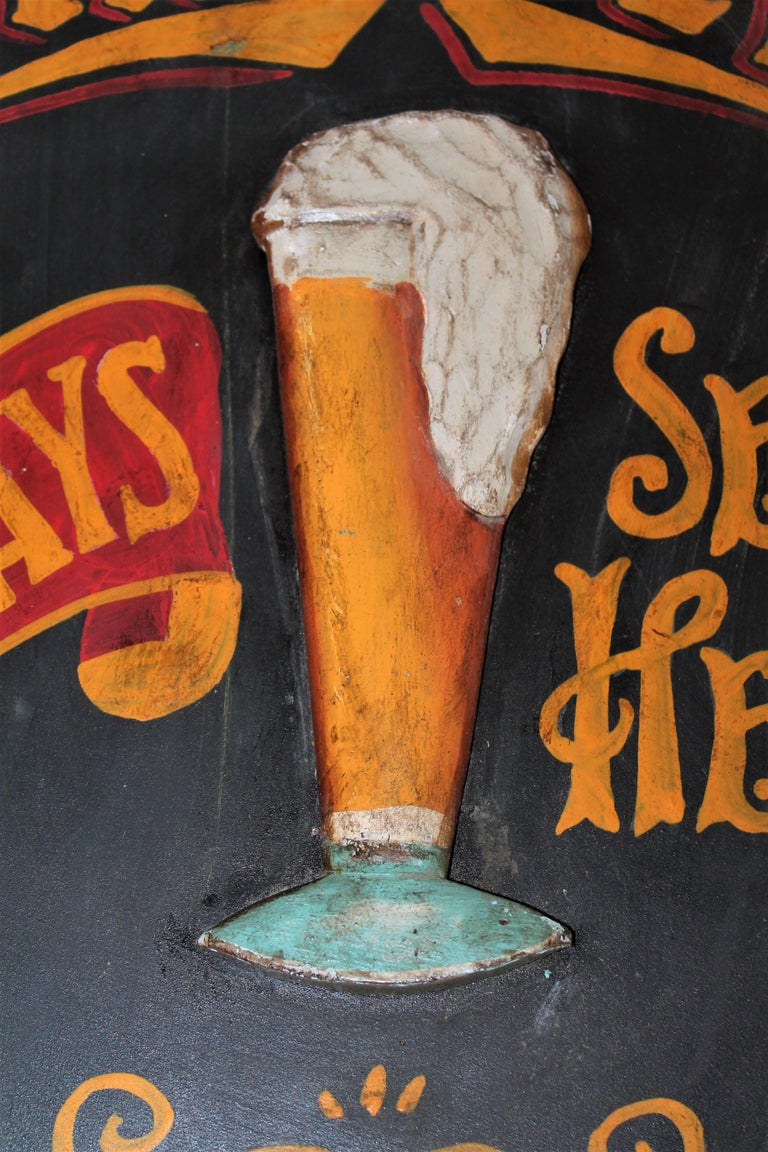 20th Century Original Hand Painted Beer Sign For Sale 3