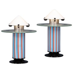 20th Century Pair Of Italian Side Lamps Attributable To Ettore Sotsass
