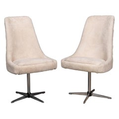 20thC Pair of Swivel Chairs in Natural Shearling, c.1970