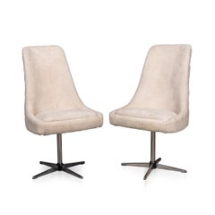 20thC Pair Of Swivel Chairs In Natural Shearling c.1970