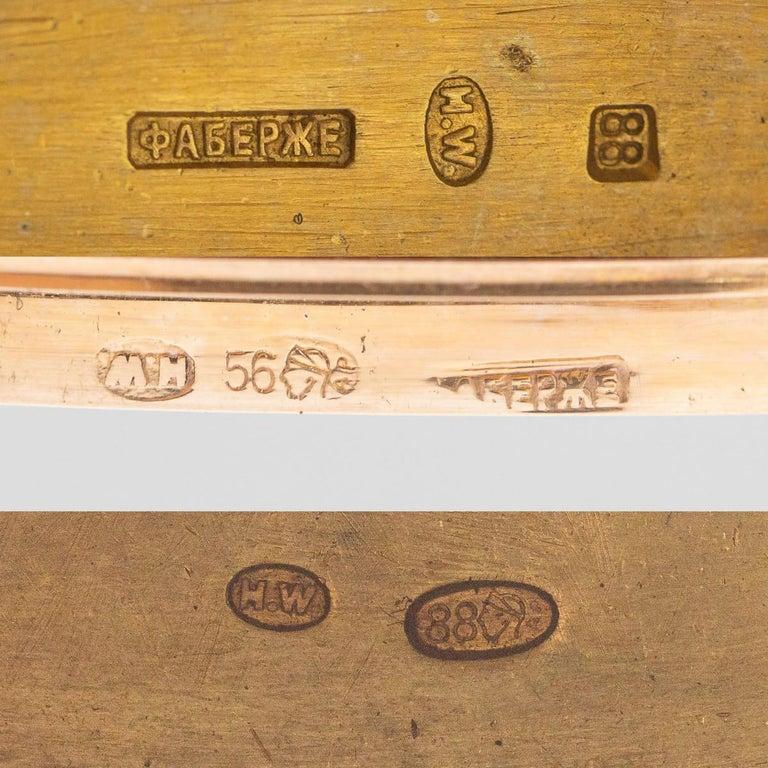 20th Century Russian Faberge Silver, Gold and Enamel Cigarette Case, circa 1900 For Sale 9