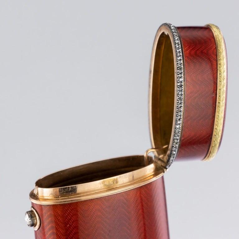 20th Century Russian Faberge Silver, Gold and Enamel Cigarette Case, circa 1900 For Sale 1