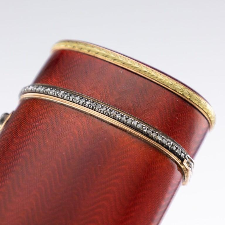 20th Century Russian Faberge Silver, Gold and Enamel Cigarette Case, circa 1900 For Sale 3