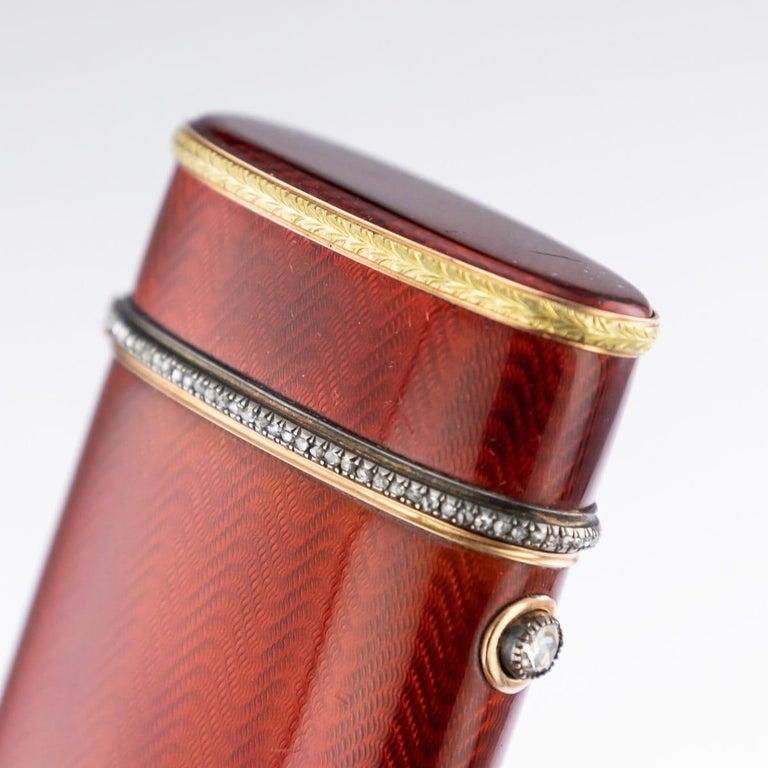 20th Century Russian Faberge Silver, Gold and Enamel Cigarette Case, circa 1900 For Sale 5