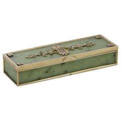 20th Century Russian Faberge Solid Silver-Gilt and Jade Box, circa 1900