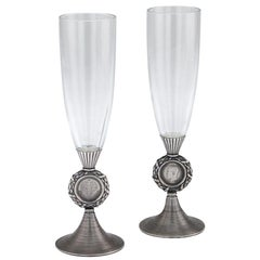 20th Century Russian Faberge Solid Silver and Glass Champagne Flutes, circa 1900