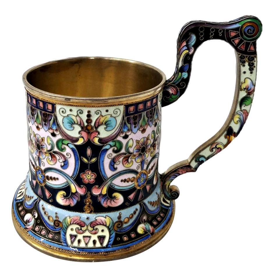 20th Century Russian Silver-Gilt & Enamel Tea Glass Holder, 6th Artel circa 1900