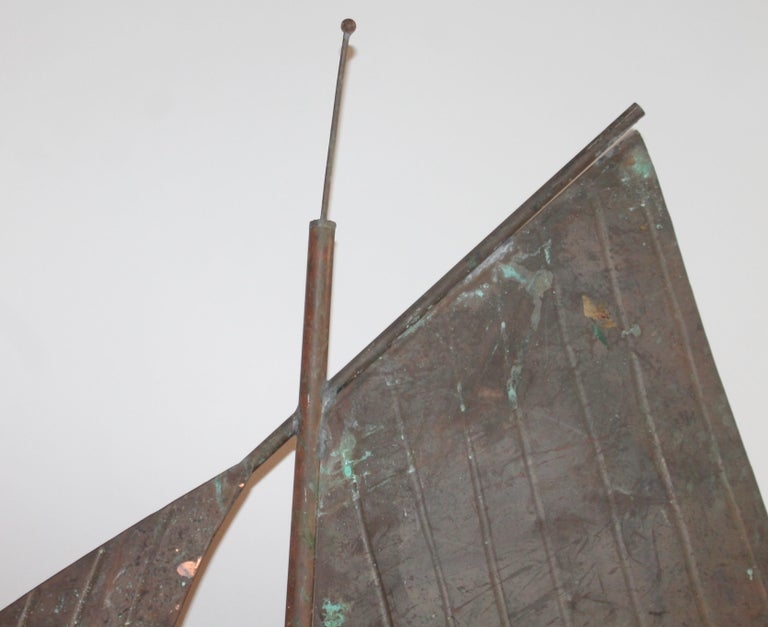 Hand-Crafted 20th Century Sailboat Weather Vane on Custom Iron Stand For Sale