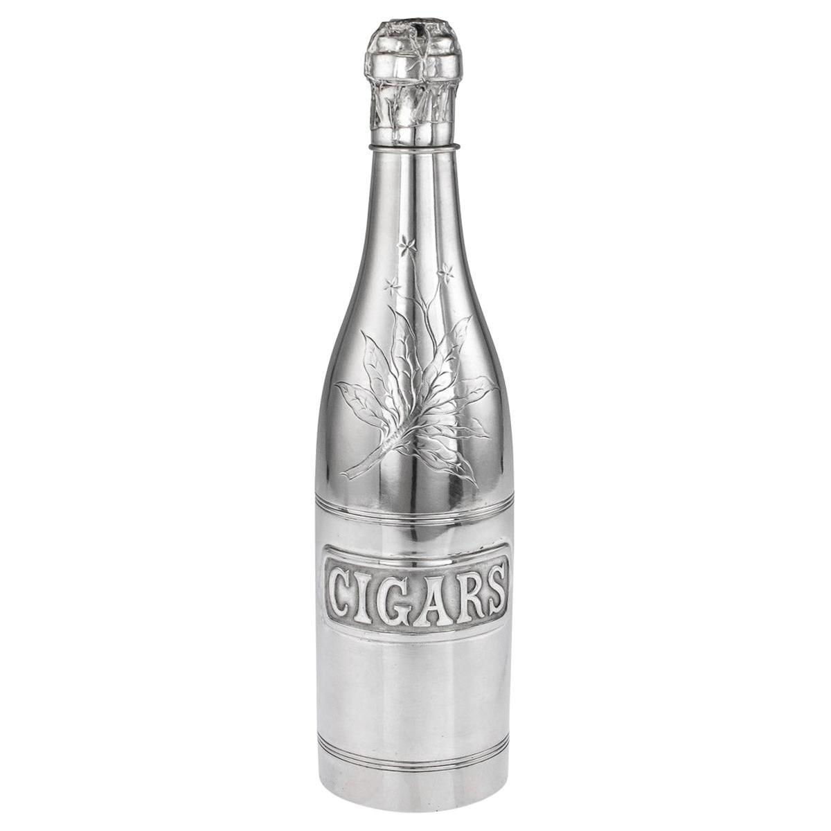 "20thC Silver Plated ""Champagne Bottle"" Cigar Holder c.1910"