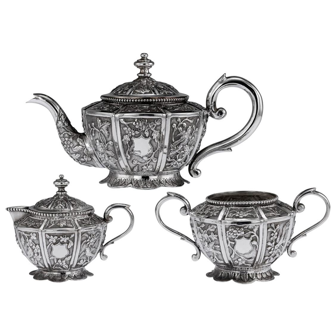20th Century South Asian Solid Silver Tea Set, Cambodia / Malaysia, circa 1910