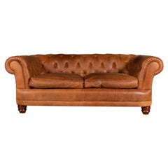 20th Century Two-Seat Tetrad Chesterfield Leather Sofa with Button Down Seats