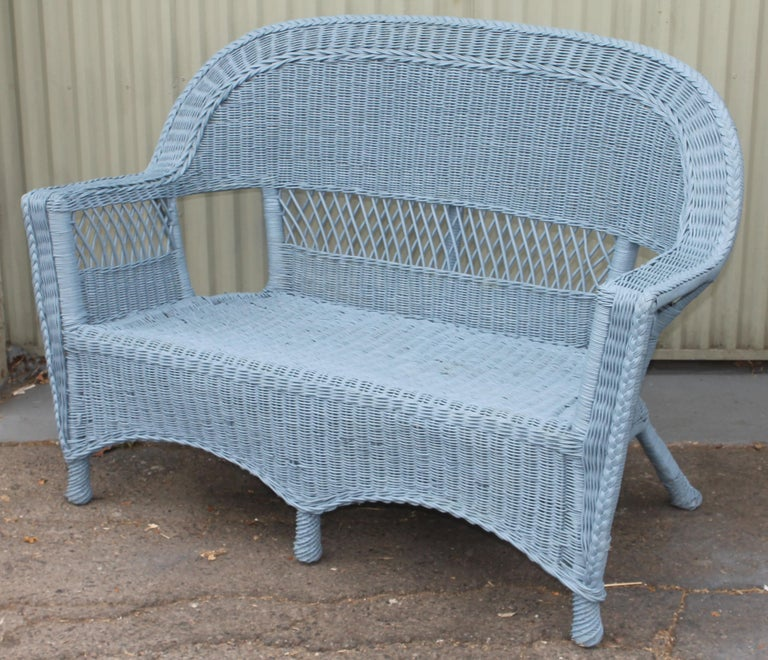 20thc Wicker Sofa & Side & Coffee Table For Sale 3