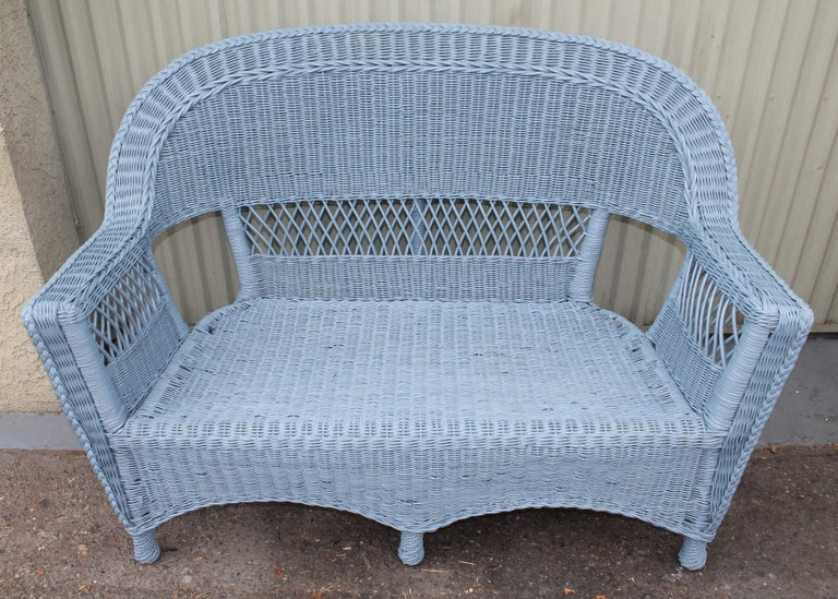 20thc Wicker Sofa & Side & Coffee Table For Sale 4
