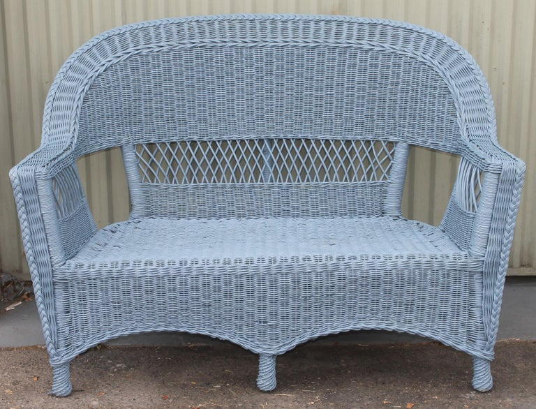 20thc Wicker Sofa & Side & Coffee Table For Sale 5