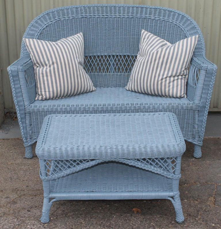 American 20thc Wicker Sofa & Side & Coffee Table For Sale
