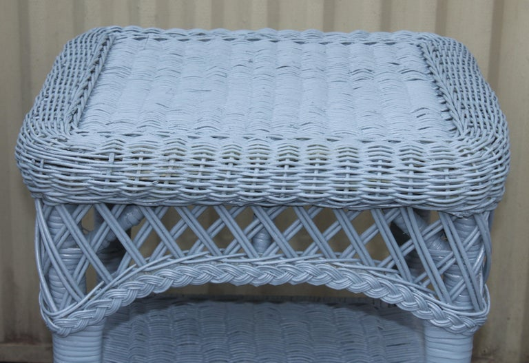 Hand-Woven 20thc Wicker Sofa & Side & Coffee Table For Sale