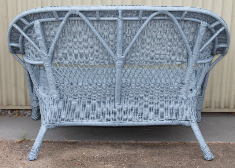 20thc Wicker Sofa & Side & Coffee Table For Sale 2