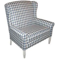 20thc Wing Back Love Seat in Homespun Linen