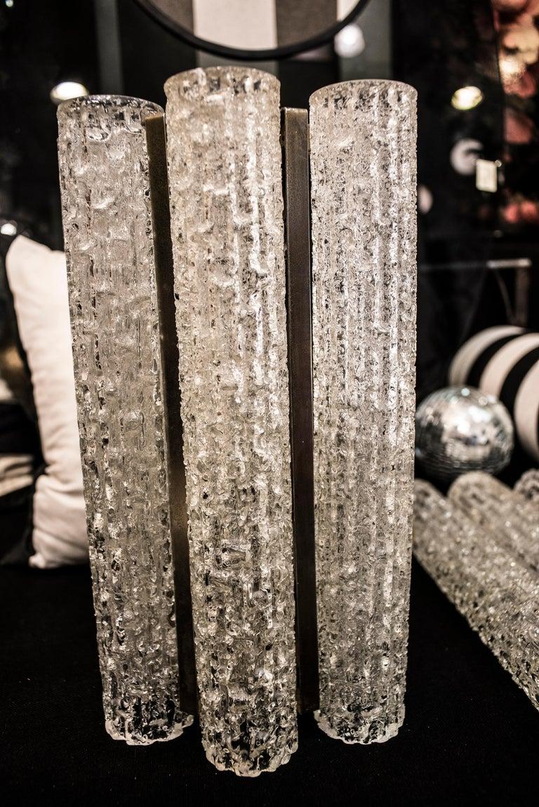 Murano White Sconce Mazzega  Frozen Blown Glass Italian Sconce 1950 For Sale 3