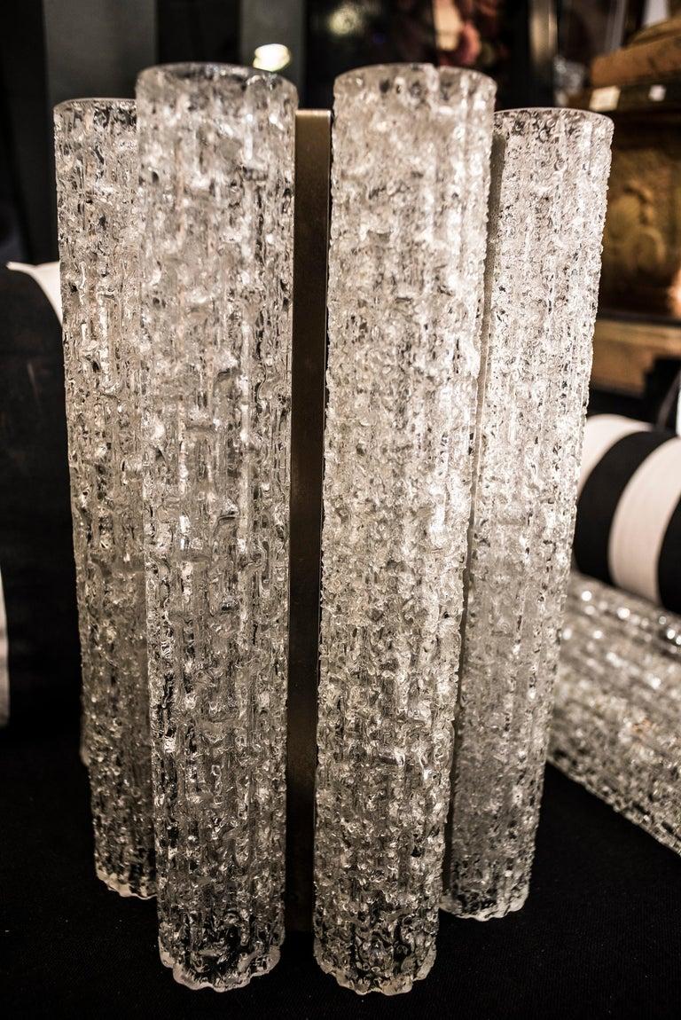 Murano White Sconce Mazzega  Frozen Blown Glass Italian Sconce 1950 For Sale 4