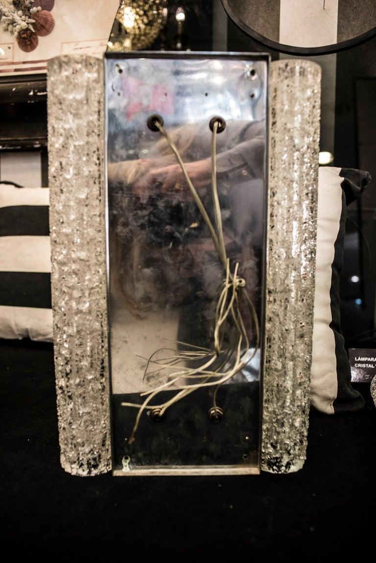 Murano White Sconce Mazzega  Frozen Blown Glass Italian Sconce 1950 For Sale 5