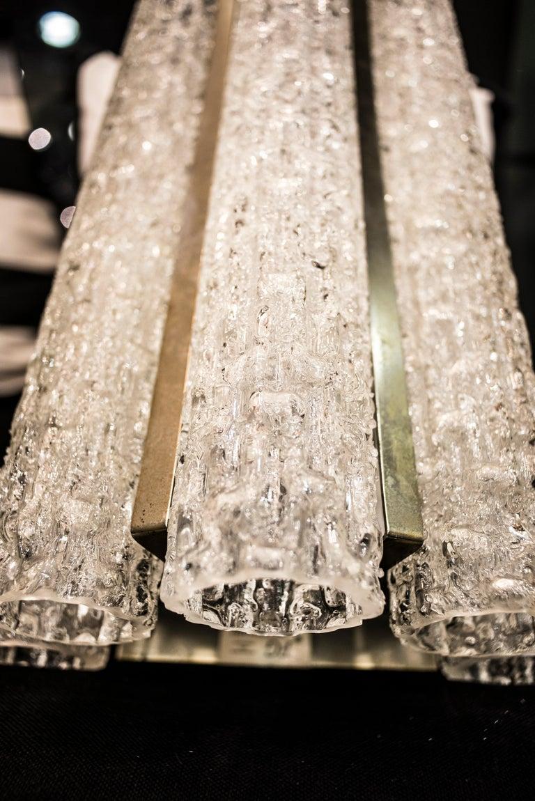 Mid-Century Modern  Murano White Sconce Mazzega  Frozen Blown Glass Italian Sconce 1950 For Sale