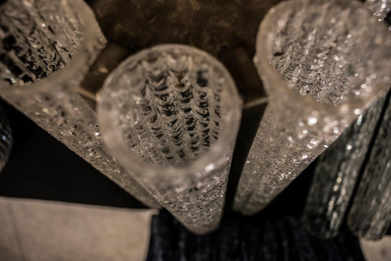 Metal  Murano White Sconce Mazzega  Frozen Blown Glass Italian Sconce 1950 For Sale