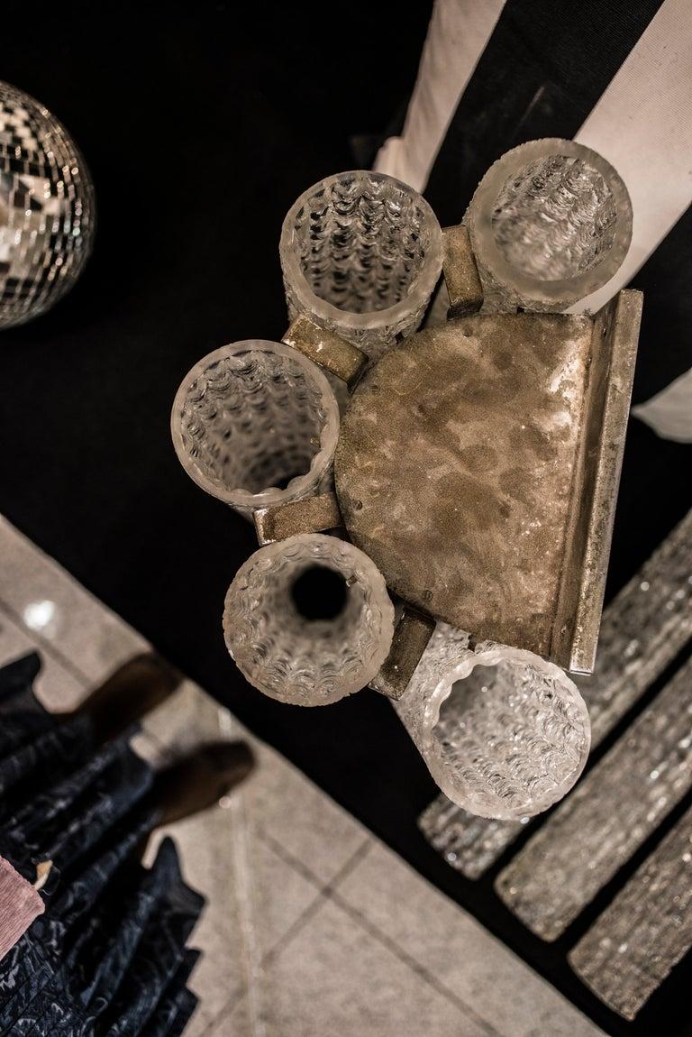 Murano White Sconce Mazzega  Frozen Blown Glass Italian Sconce 1950 For Sale 1