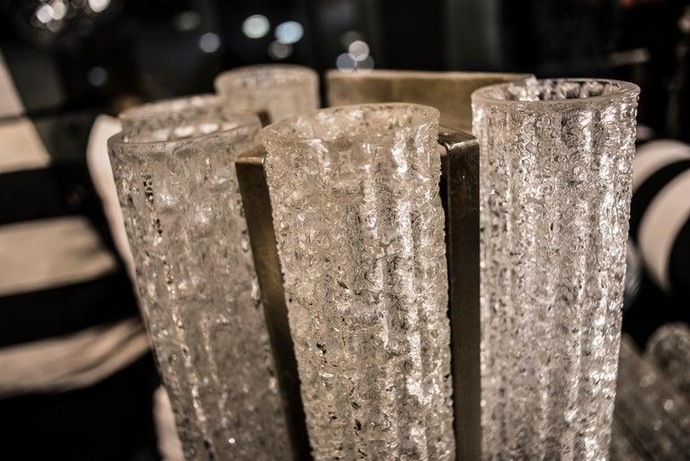 Murano White Sconce Mazzega  Frozen Blown Glass Italian Sconce 1950 For Sale 2