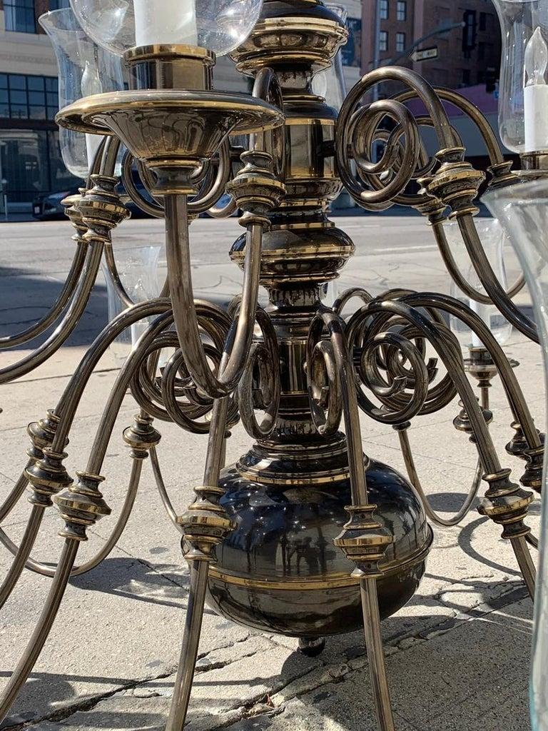 21-Arm Solid Brass Chandelier by Feldman, CA, 1980s For Sale 6