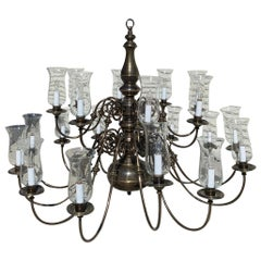 21-Arm Solid Brass Chandelier by Feldman, circa 1980s